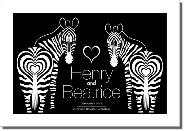 Wedding Gifts - Zebras & Hearts Design